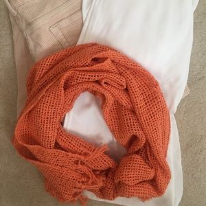 Accessories - Tangerine cotton mesh scarf with fringe